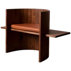 Contemporary Sculptural Black Walnut and Leather Armchair by Campagna