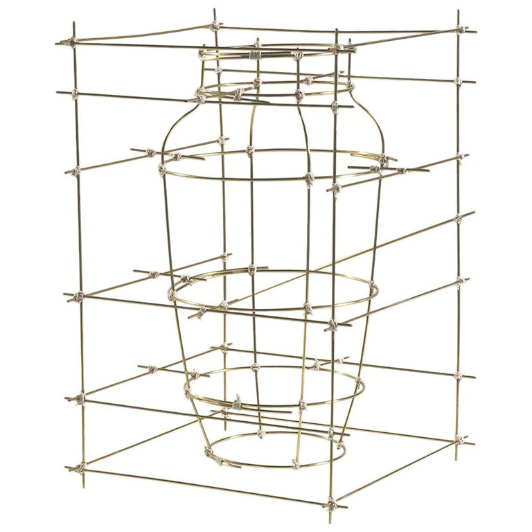 "Contemporary Sculptural Brass Big Vase ""Castillo"" by Cooperativa Panorámica For Sale"
