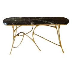 Contemporary Sculptural Brass Console and Red Levanto Marble Top