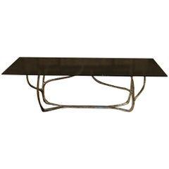 Contemporary Sculptural Center or Dining Table, Brass and Smoked Tempered Glass