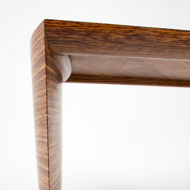 Contemporary Sculptural Desk in Fumed Oak and Brown Oak by Edward Johnson For Sale 5