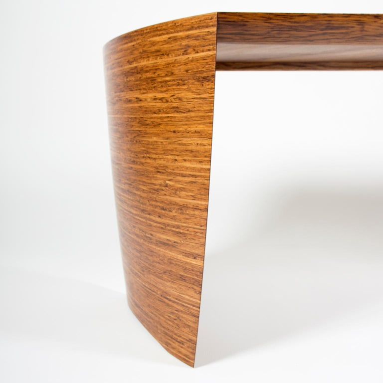 Contemporary Sculptural Desk in Fumed Oak and Brown Oak by Edward Johnson For Sale 6