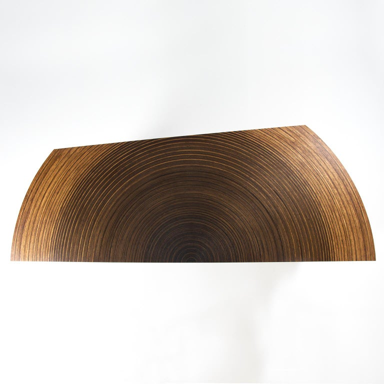 British Contemporary Sculptural Desk in Fumed Oak and Brown Oak by Edward Johnson For Sale
