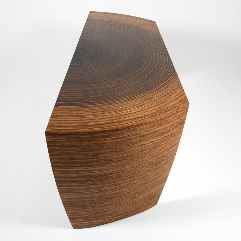 Oiled Contemporary Sculptural Desk in Fumed Oak and Brown Oak by Edward Johnson For Sale