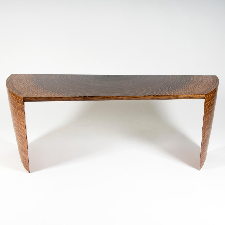 Contemporary Sculptural Desk in Fumed Oak and Brown Oak by Edward Johnson For Sale 3