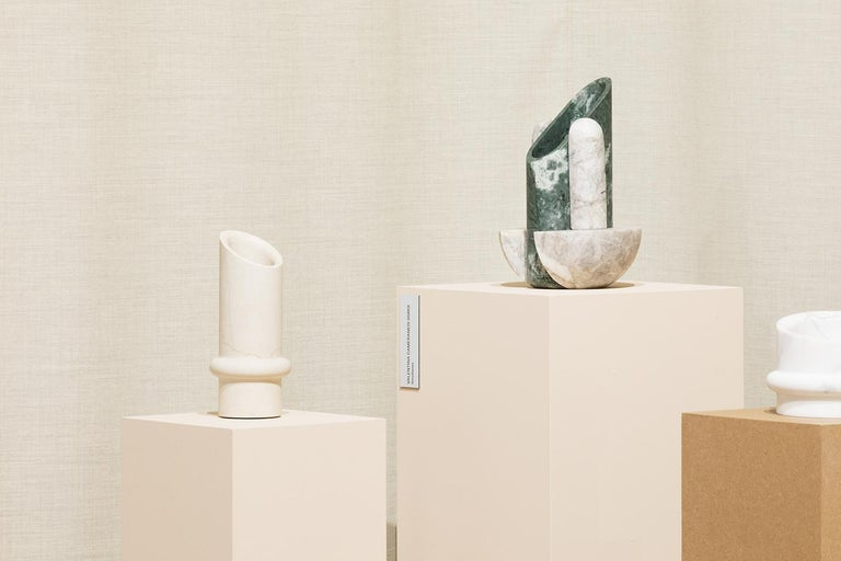 Contemporary Sculptural Geometric Marble Vase Simultaneo, Italian Manufacture In New Condition For Sale In Milan, IT
