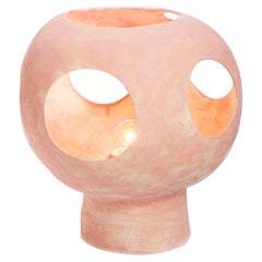 Contemporary Sculptural Hand-built Ceramic Dome Table Lamp in Matte Pink
