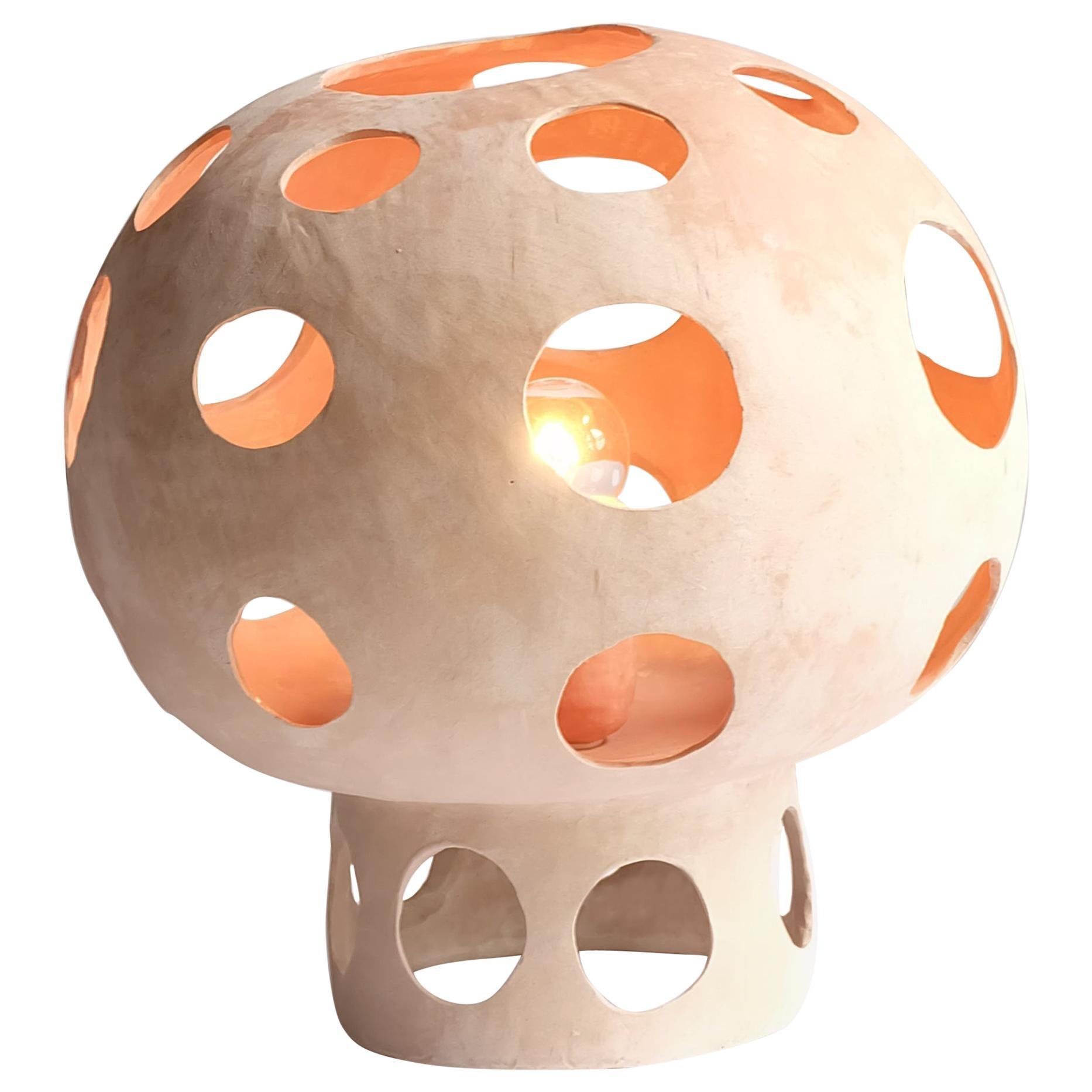 Contemporary Sculptural Hand-Built Ceramic Mushroom-Shaped Table Lamp