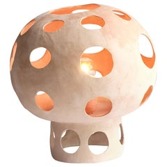 Contemporary Sculptural Hand-Built Ceramic Mushroom-Shaped Table Lamp