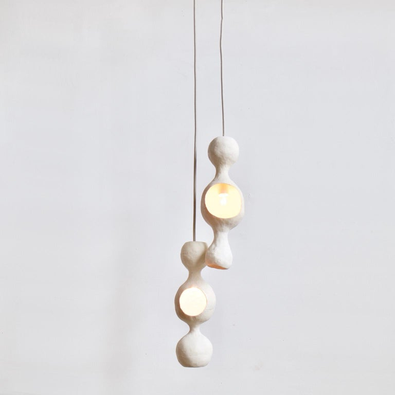 Modern Contemporary Sculptural Hand-Built Double-Shell Matte White Ceramic Pendant Lamp For Sale