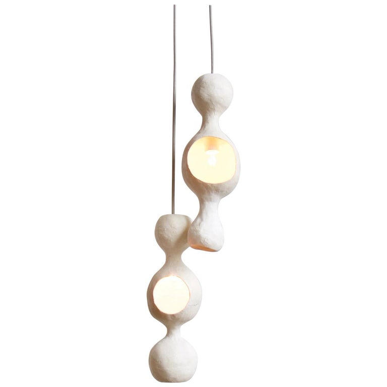 Contemporary Sculptural Hand-Built Double-Shell Matte White Ceramic Pendant Lamp For Sale