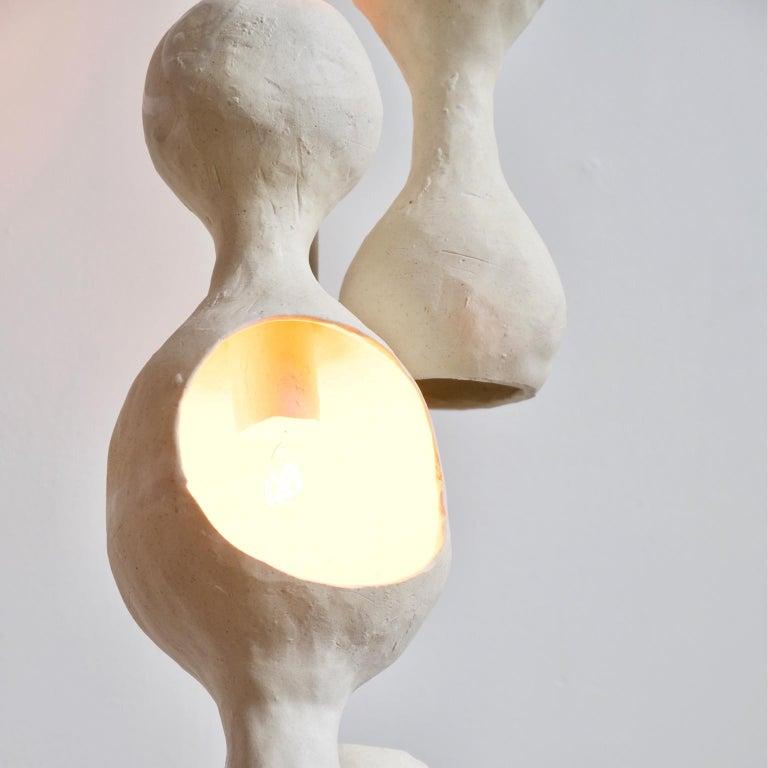 Fired Contemporary Sculptural Hand-Built Multi-Shell Matte White Ceramic Pendant Lamp For Sale