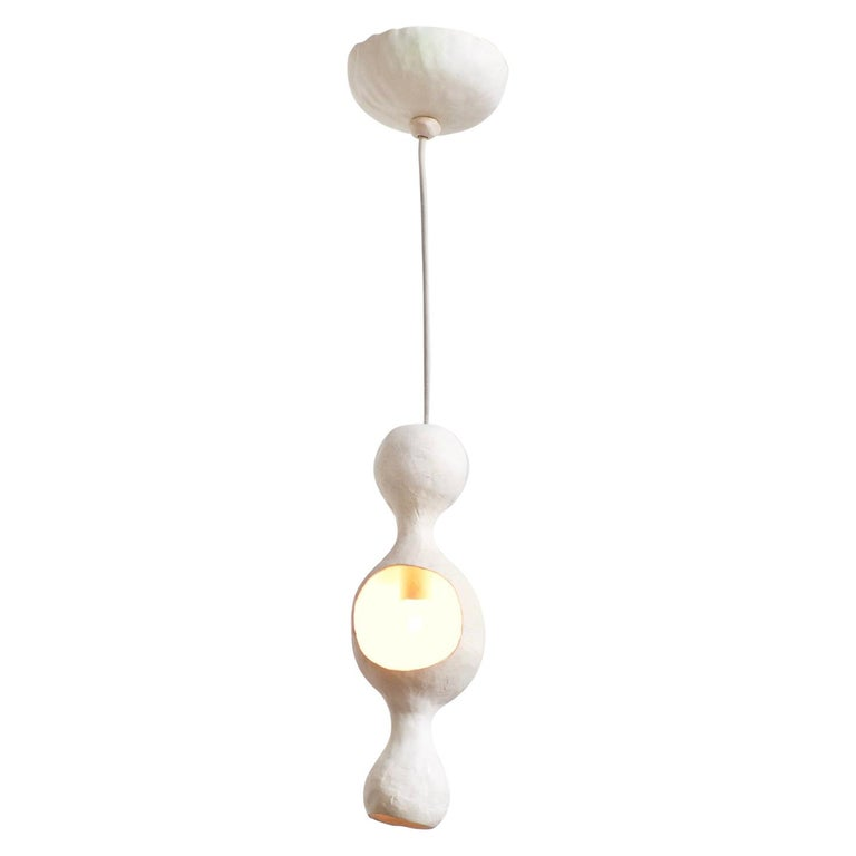 Contemporary Sculptural Hand-built Single-Shell Matte White Ceramic Pendant Lamp For Sale