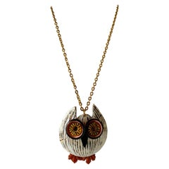Contemporary Sculptural Owl Pendant Chain Necklace