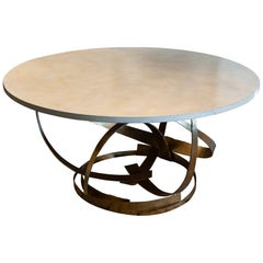 Contemporary Sculptural Round Center Table, Gold Metal Base, Parchment Top