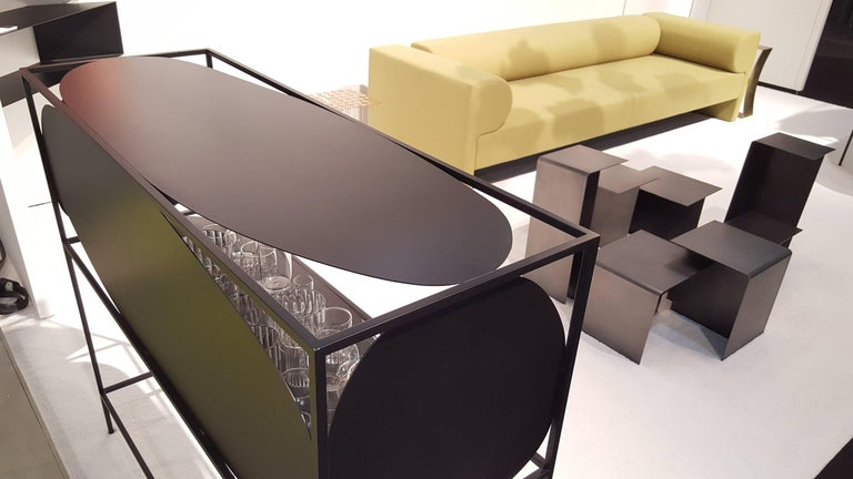 Modern Contemporary Sculptural Steel Black Credenza Buffet Bar Handcrafted USA For Sale