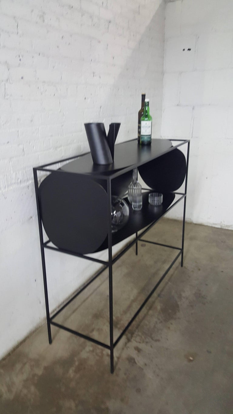 Contemporary Sculptural Steel Black Credenza Buffet Bar Handcrafted USA For Sale 2