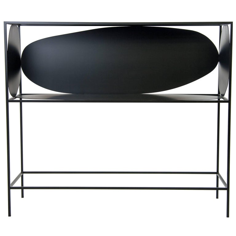 Contemporary Sculptural Steel Black Credenza Buffet Bar Handcrafted USA For Sale