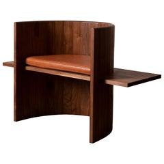 Contemporary Sculptural Walnut and Leather Armchair by Campagna, in Stock