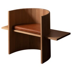 Contemporary Sculptural White Oak and Leather Armchair by Campagna, in Stock