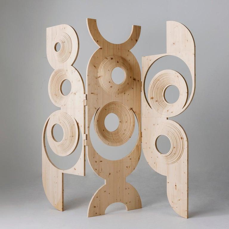 Italian Modern  Sculptural Wood Room Divider by Sebastiano Bottos, Italia For Sale