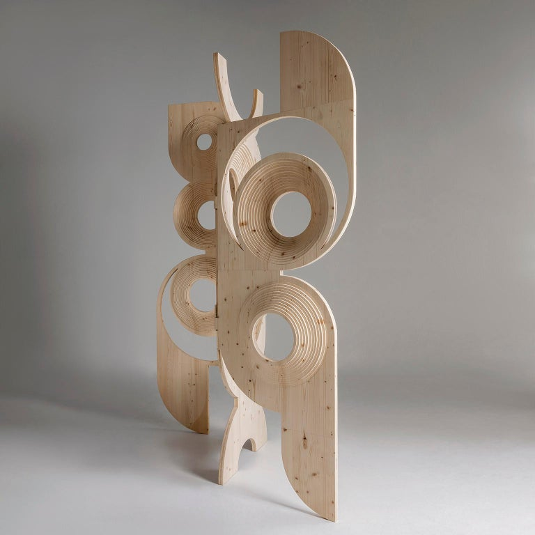 Woodwork Modern  Sculptural Wood Room Divider by Sebastiano Bottos, Italia For Sale