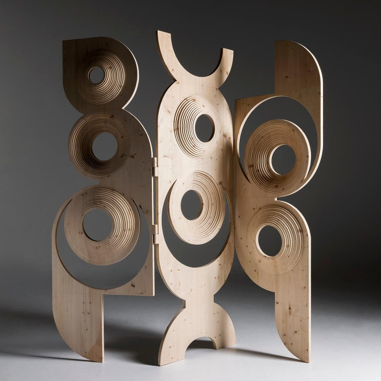 Modern  Sculptural Wood Room Divider by Sebastiano Bottos, Italia In New Condition For Sale In Pordenone, IT