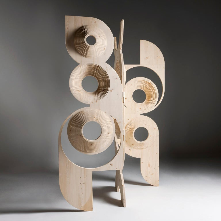 Contemporary Modern  Sculptural Wood Room Divider by Sebastiano Bottos, Italia For Sale
