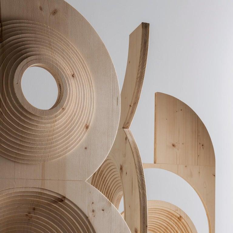 Modern  Sculptural Wood Room Divider by Sebastiano Bottos, Italia For Sale 1