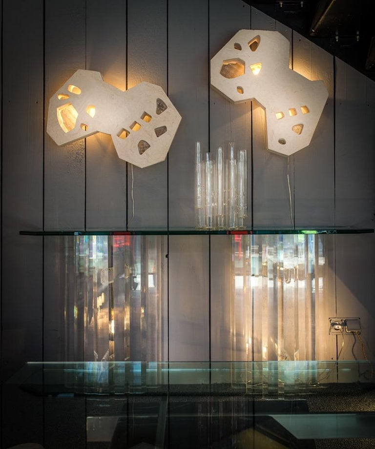 Contemporary Sculpture Plaster Glass Sconces by Atelier Meto, France For Sale 7