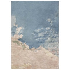 Contemporary Sea and Sand Hand Knotted Silk Rug