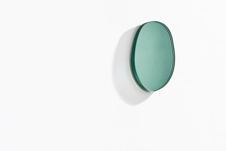 Modern Contemporary Seeing Glass off Round Mirror by Sabine Marcelis, Thin Large, Green For Sale