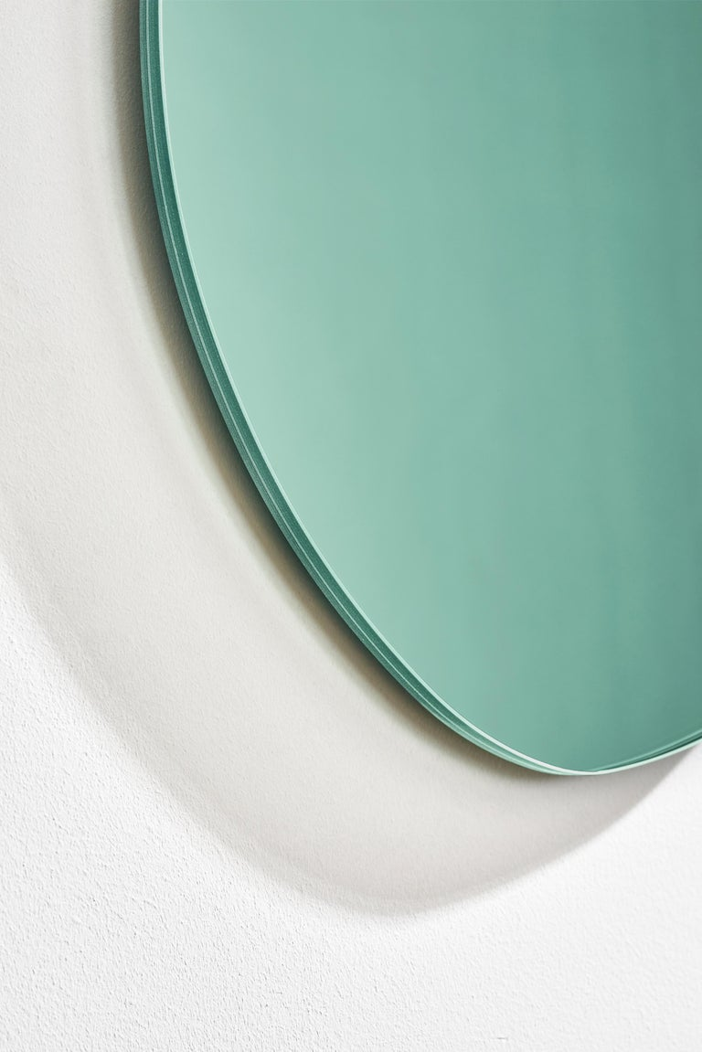 Dutch Contemporary Seeing Glass off Round Mirror by Sabine Marcelis, Thin Large, Green For Sale