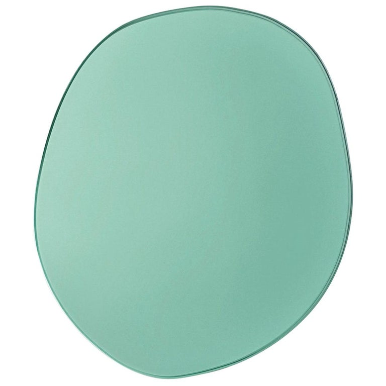 Contemporary Seeing Glass off Round Mirror by Sabine Marcelis, Thin Large, Green For Sale