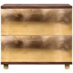 Contemporary Sela Bedside Table in Ash, Ebony, Walnut, Poplar Root, Ironwood