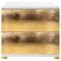 Contemporary Sela Bedside Table in White Ash, Brass or Copper
