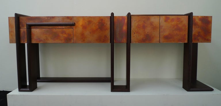 English Contemporary Sequenza Bar Cabinet Credenza Sideboard in Wegne and Copper Patina For Sale