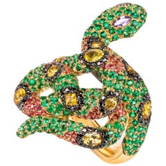 "Contemporary ""Serpent"" Ring with Diamonds Emeralds, Sapphires in Yellow Gold"