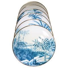 Contemporary Set of 12 Las Palmas Blue and White Plates by Vito Nesta Grand Tour