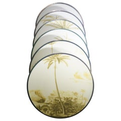 Contemporary Set of 12 Las Palmas Green & White Plates by Vito Nesta Grand Tour