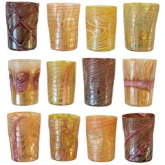Contemporary Set of 12 Murano Hand Blown Tumblers