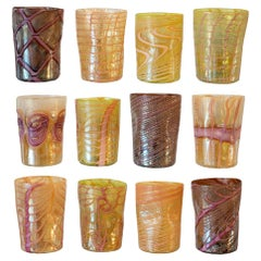Contemporary Set of 12 Purple, Gold, Green and Pink Murano Glass Tumblers
