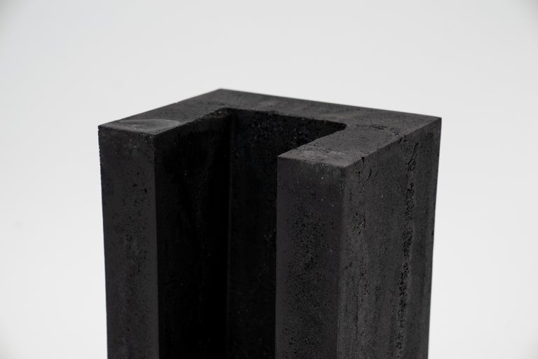 Contemporary Set of 3 Modern Side Tables Hand Made from Resin with Steel Inlay For Sale 6