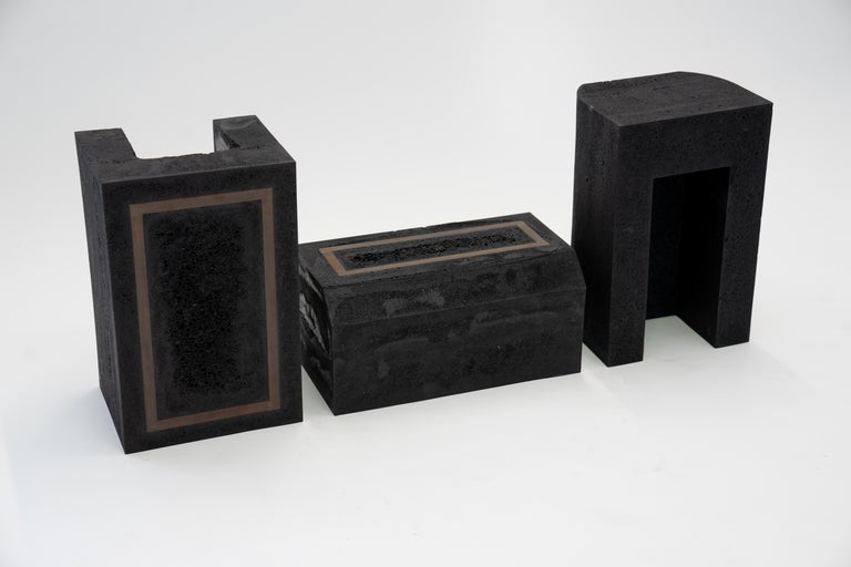 American Contemporary Set of 3 Modern Side Tables Hand Made from Resin with Steel Inlay For Sale