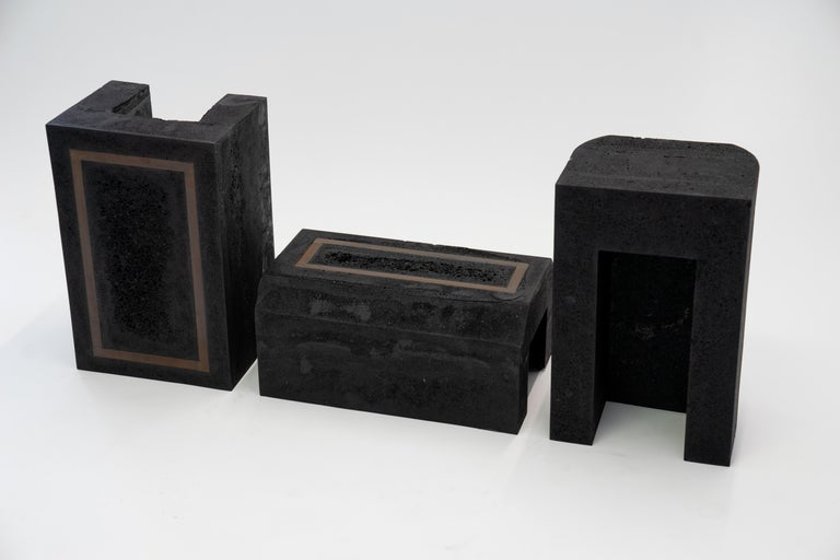 Cast Contemporary Set of 3 Modern Side Tables Hand Made from Resin with Steel Inlay For Sale