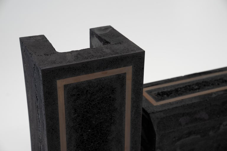 Contemporary Set of 3 Modern Side Tables Hand Made from Resin with Steel Inlay In New Condition For Sale In Bronx, NY