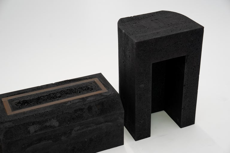 Contemporary Set of 3 Modern Side Tables Hand Made from Resin with Steel Inlay For Sale 1