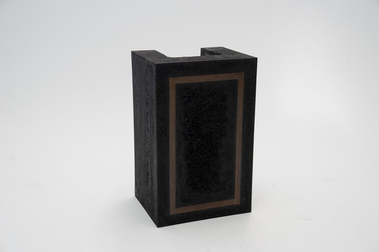 Contemporary Set of 3 Modern Side Tables Hand Made from Resin with Steel Inlay For Sale 2