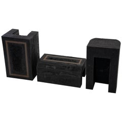 Contemporary Set of 3 Modern Side Tables Hand Made from Resin with Steel Inlay