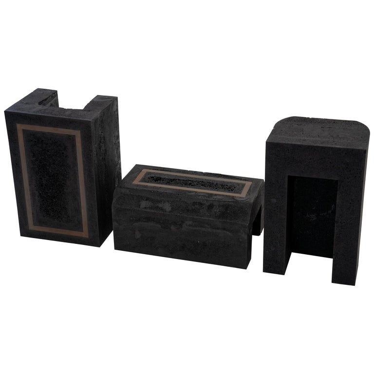 Contemporary Set of 3 Modern Side Tables Hand Made from Resin with Steel Inlay For Sale